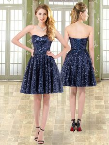 Navy Blue Tulle and Sequined Lace Up Sweetheart Sleeveless Mini Length Prom Evening Gown Beading