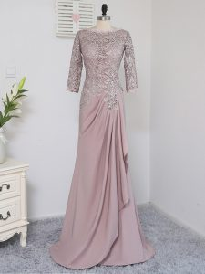 Pink Half Sleeves Elastic Woven Satin Brush Train Zipper Mother Of The Bride Dress for Prom and Party and Sweet 16