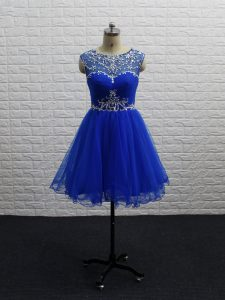 Royal Blue Sleeveless Tulle Zipper Cocktail Dresses for Prom and Party