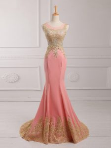 Watermelon Red Scoop Neckline Lace and Appliques Evening Gowns Sleeveless Side Zipper
