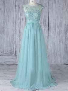 Aqua Blue Chiffon Backless Scoop Cap Sleeves Bridesmaids Dress Sweep Train Lace