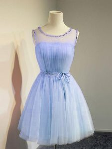 Scoop Sleeveless Tulle Bridesmaids Dress Belt Lace Up