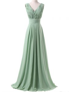 Stunning Apple Green V-neck Lace Up Ruching Bridesmaid Dresses Sleeveless