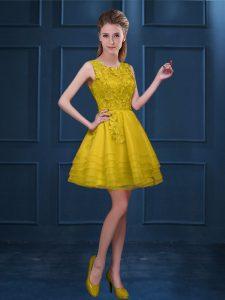 Designer Knee Length A-line Sleeveless Gold Vestidos de Damas Zipper