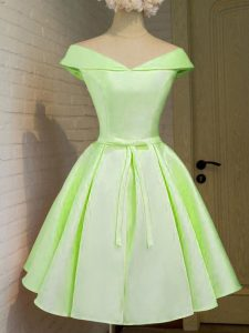 Yellow Green Dama Dress for Quinceanera Prom and Party and Wedding Party with Belt Off The Shoulder Cap Sleeves Lace Up