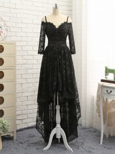 Beautiful High Low Zipper Black for Prom and Party and Wedding Party with Lace