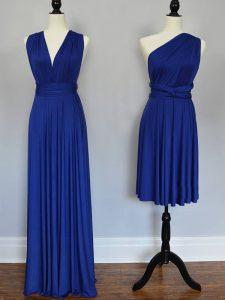 Royal Blue Lace Up Dama Dress Ruching Sleeveless Floor Length