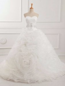 Traditional White Sweetheart Neckline Beading and Ruching Wedding Gown Sleeveless Lace Up