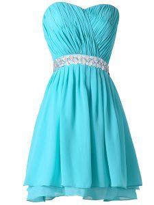 Custom Designed Aqua Blue Sweetheart Lace Up Beading and Ruching Cocktail Dresses Sleeveless