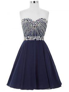 Navy Blue Chiffon Lace Up Sweetheart Sleeveless Mini Length Cocktail Dresses Beading
