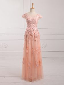 Best Selling Cap Sleeves Tulle Floor Length Lace Up Mother Of The Bride Dress in Peach with Lace and Appliques and Belt