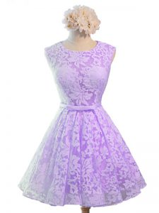 Lace Scoop Sleeveless Lace Up Belt Quinceanera Court of Honor Dress in Lavender