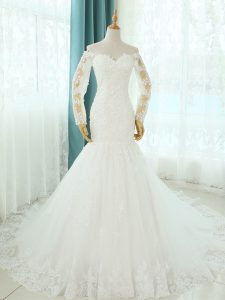 White Mermaid Beading and Appliques Wedding Dress Lace Up Tulle Sleeveless