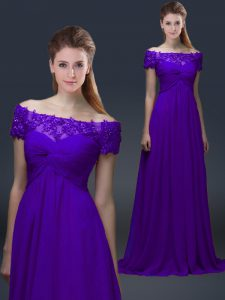 Short Sleeves Chiffon Floor Length Lace Up Mother Of The Bride Dress in Purple with Appliques
