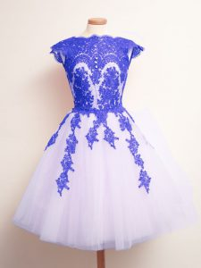 Glittering Mini Length Lace Up Vestidos de Damas Blue And White for Prom and Party and Wedding Party with Appliques