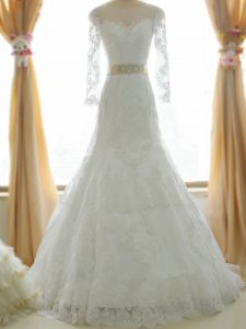 White Wedding Gowns Tulle Brush Train Long Sleeves Lace and Appliques