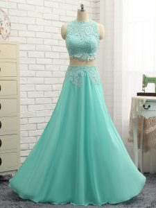 Suitable Apple Green Sleeveless Mini Length Lace and Appliques Side Zipper Prom Dress