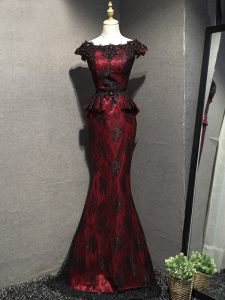 Pretty Scoop Sleeveless Mother Of The Bride Dress Floor Length Lace and Appliques Red And Black Lace