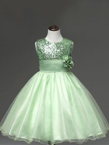 Low Price Apple Green Ball Gowns Tulle Scoop Sleeveless Sequins and Hand Made Flower Knee Length Zipper Little Girls Pag