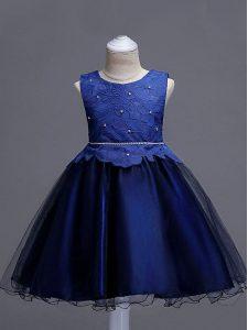 Navy Blue Ball Gowns Lace Flower Girl Dresses for Less Zipper Organza Sleeveless Knee Length