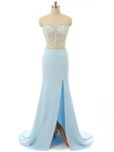 Modern Zipper Evening Dress Light Blue for Prom and Party and Military Ball with Beading Brush Train