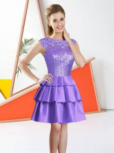Inexpensive A-line Quinceanera Court Dresses Lavender Bateau Taffeta Sleeveless Knee Length Backless
