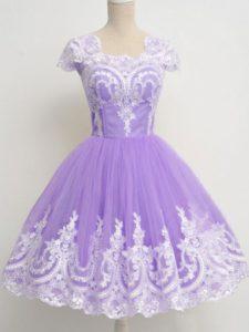 Custom Fit Lavender Square Neckline Lace Quinceanera Court Dresses Sleeveless Zipper