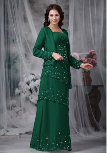 Dynamic Floor Length Green Mother Of The Bride Dress Straps Sleeveless Zipper