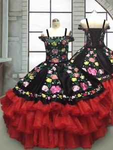 Red And Black Sleeveless Floor Length Embroidery and Ruffled Layers Lace Up Little Girls Pageant Gowns