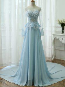 Pretty Empire Long Sleeves Light Blue Homecoming Dress Zipper