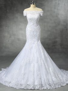Modest Off The Shoulder Sleeveless Lace Wedding Gowns Beading and Lace and Appliques Brush Train Zipper