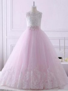 Baby Pink Ball Gowns Scalloped Sleeveless Tulle Brush Train Lace Up Lace Little Girl Pageant Gowns