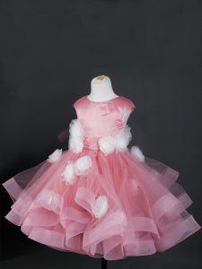 Ball Gowns Little Girl Pageant Gowns Pink Bateau Tulle Cap Sleeves Knee Length Zipper