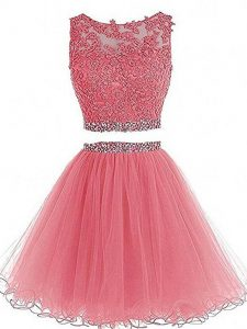 Two Pieces Cocktail Dress Pink Scoop Tulle Sleeveless Mini Length Zipper