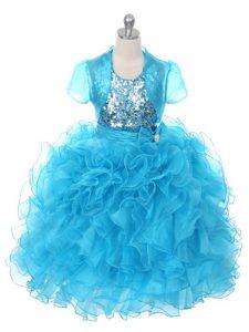 Custom Design Floor Length Ball Gowns Sleeveless Baby Blue Little Girls Pageant Dress Lace Up