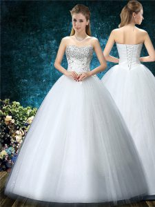 Sleeveless Floor Length Beading and Embroidery Lace Up Wedding Dress with White