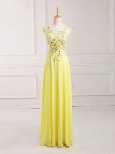 Luxurious V-neck Sleeveless Chiffon Prom Dress Lace and Appliques Zipper