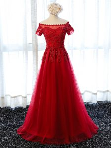 Deluxe Wine Red A-line Beading and Lace and Appliques Prom Gown Lace Up Tulle Short Sleeves Floor Length