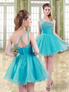 Aqua Blue A-line Beading Dress for Prom Zipper Organza Sleeveless Mini Length