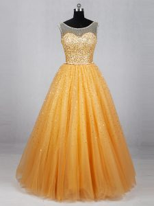 Custom Designed Beading and Sequins Prom Gown Gold Lace Up Sleeveless Floor Length