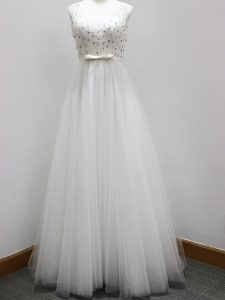 On Sale White Sleeveless Tulle Brush Train Zipper Quinceanera Court of Honor Dress for Prom and Party and Wedding Party