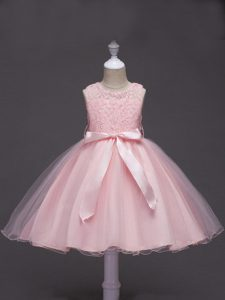 Tulle Sleeveless Knee Length Kids Pageant Dress and Lace and Belt