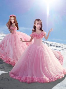Off The Shoulder Sleeveless Court Train Lace Up Kids Pageant Dress Baby Pink Tulle