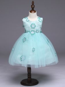 Sleeveless Zipper Knee Length Appliques and Bowknot Child Pageant Dress