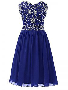 Empire Club Wear Royal Blue Sweetheart Chiffon Sleeveless Knee Length Zipper