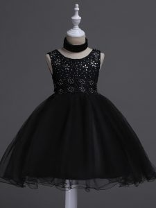 Sleeveless Knee Length Beading and Lace Zipper Toddler Flower Girl Dress with Black