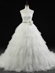 White Lace Up Sweetheart Beading and Ruffles and Hand Made Flower Wedding Gown Tulle Sleeveless Brush Train