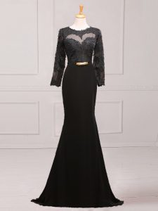 Black Side Zipper Mother Of The Bride Dress Lace and Appliques and Belt Long Sleeves Brush Train