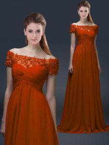 Rust Red Chiffon Lace Up Mother Of The Bride Dress Short Sleeves Floor Length Appliques