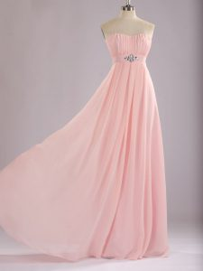 Floor Length Empire Sleeveless Baby Pink Quinceanera Court Dresses Zipper